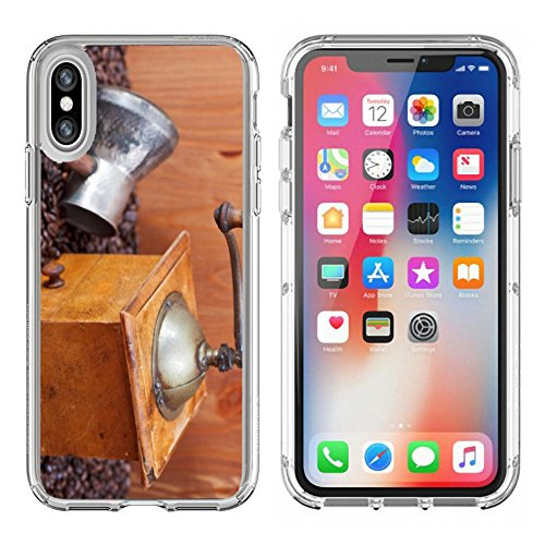 Luxlady Apple iPhone X Clear case Soft TPU Rubber Silicone Bumper Snap Cases iPhoneX IMAGE ID: 24414441 retro manual coffee grinder copper pot spoon on many roasted coffee beans