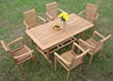 "New 7 Pc Luxurious Grade-A Teak Dining Set - 71"" Mas Rectangle Table (Trestle Legs) And 6 Mas Stacking Arm Chairs #WHDSMS7"