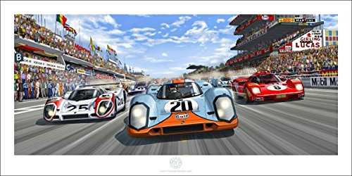 "From Steve McQueen in Le Mans - Perfect Racing Car Colorful Satin Art Print ""The Race Is ON"" - McQueen Porsche 917 Ferrari 512 Design Room Decoration Wall Mural - - Shop Ferrari Gift"