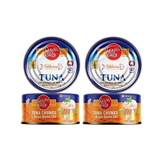 Golden Prize Tuna Chunk in Soyabean Oil 185 GMS Each - Pack of 2 Units