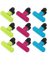 Voedselzak clips, Netume 9 stuks plastic voedsel opslag clips afdichting clips voor geopende zak/vriezer zak/koffie zak Sealer, duurzame chip tas clips pakket clips voor keuken, thuis, kantoor gebruik, diverse kleuren