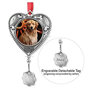 Dog Ornament - Pet Memorial Picture Christmas Ornament - Engravable Charm Included to Personalize - Loss of a Dog Keepsake