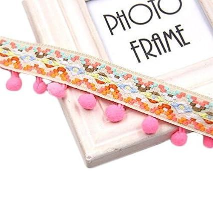 Yalulu 5 yardas Rainbow Pom Poms Borla de encaje Pompom Trim Ball flecos cinta de ropa cuerda de tela DIY Craft accesorio de costura 5 Yards*3.5cm beige