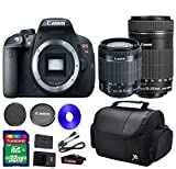 Canon T5i DSLR Camera +18-55mm IS STM Lens +EF-S 55-250mm f/4-5.6 IS STM Lens + 32 GB SDHC Memory Card + Front Lens Cap + Rear Lens Cap + Strap + Camera Case - International Version