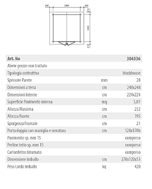 Salone Negozio Online GARTENPRO - Caseta de Madera para jardín, 248 x 248 x 232 cm: Amazon.es: Jardín