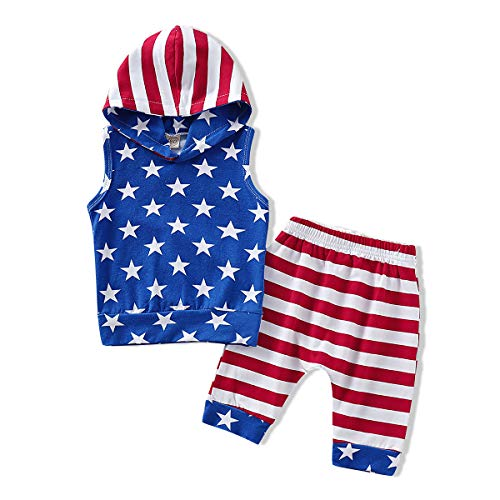 GRNSHTS Baby Boys 4th of July Shorts Set American Flag Star Vest Hoodie + Striped Shorts 2pcs Independence Day Outfits (USA Flag, 12-18 Months)]()