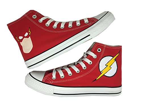 Price comparison product image DC Comics Originals The Flash Custom Chuck Taylor Canvas High Top Sneakers Shoes (US 7.5/EUR 40/250mm/9.85 inch)