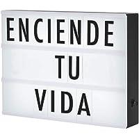 Redlemon Letrero Luminoso LED tipo Cartelera Vintage de Cine con Doble Paquete de Letras, Números y Símbolos (192 piezas), Tamaño A4, Portátil, Cinema Light Box, Tamaño Grande