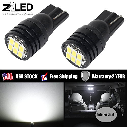 (Pack of 2) Z8LED T10 interior bulb Error free canbus Auto LED light Extremely Bright High power 3020 6SMD 194 195 159 921 2825 w10w Mirror Reading width Light