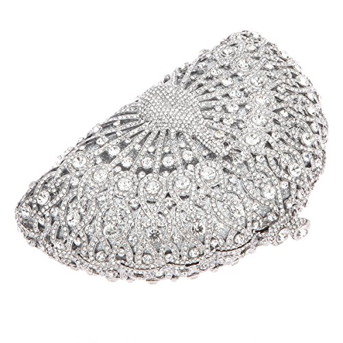 Clutch Black Crystal Silver Bonjanvye For Peacock Glitter Bag Evening Girls qax8pZxw