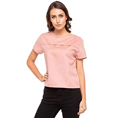 ce543ec9b06b41 Life by Shoppers Stop Womens Round Neck Solid Top_Pink_X-Large ...