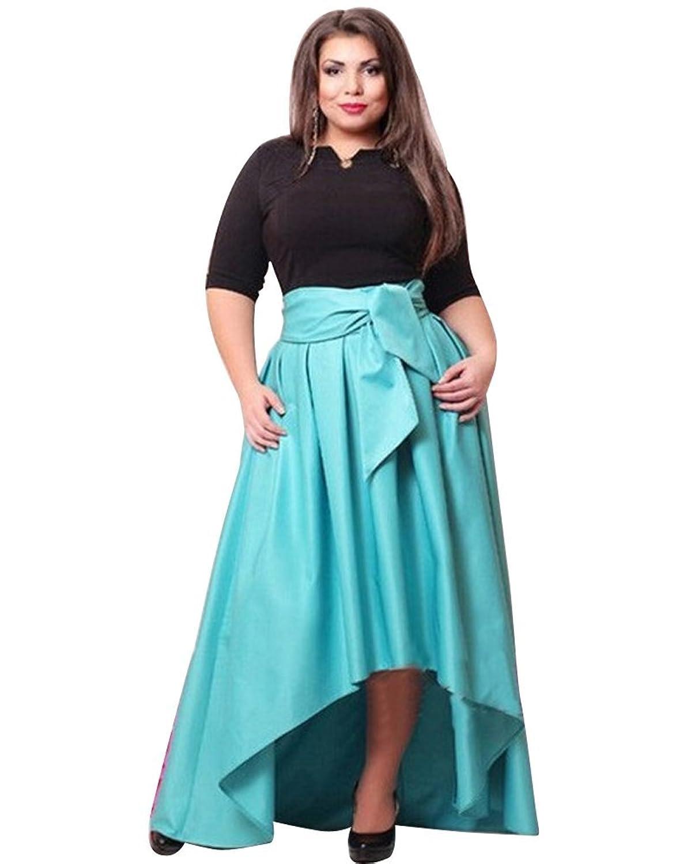 YipGrace Frauen Halbe Hülsen Maxi Kleid Mit Gürtel