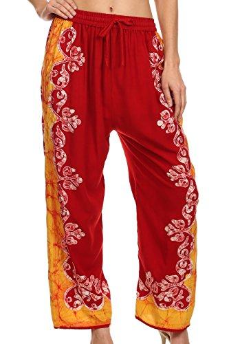 Sakkas 4217 - Margiela Embroidered Stonewashed Wide Leg Palazzo Pant - Red/Yellow - - Margiela Uk