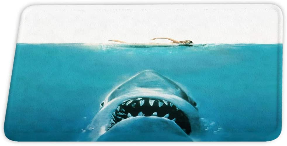 Funny Shark Beach Nautical Jaws Underwater Coral Velvet Bath Rugs Non Slip Shower Mat for Ocean Bathroom Decor Sets Door Rug with Rubber Backing Absorbent Kitchen Floor Carpet 17 x 24 inches Blue