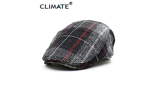 Winter Men Thicken Woolen Grid Plaid Warm Beret Caps Newsboy Tweed Plaid Gatby Painter Planas Gorras Adult Adjustable at Amazon Mens Clothing store: