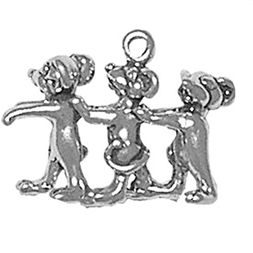 Mice Three Blind Charm (925 Sterling Silver Classic Mother Goose Story Three Blind Mice Pendant Charm)