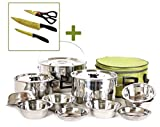 Kitchen Art INORTH Stainless Steel Triple Bottom Camping Cookware Kit Pot Set 15 pcs 5 -6 People Titanium Knife Scissors 3p Outdoor Camping Backpacking Trekking Fishing