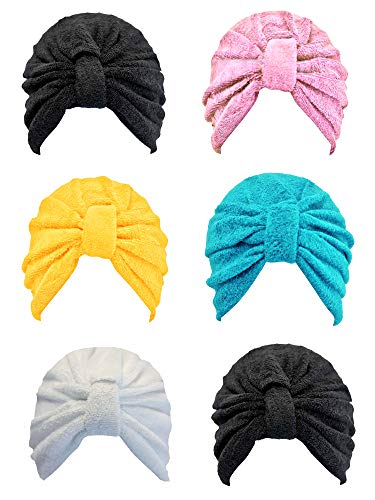 Black Pink Turquoise Yellow White 6 Pack Assorted Turban Head Wrap ()