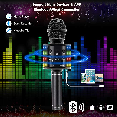 Verkstar Wireless Bluetooth 4 in 1 Karaoke Microphone, Portable Handheld Karaoke Machine Speaker Birthday Home Party Player with Record Function Christmas for Android & iOS All Devices (Black)