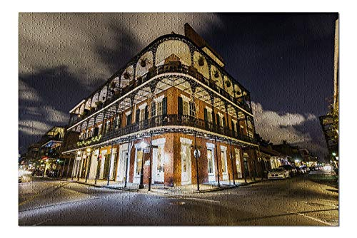 New Orleans, Louisiana - Downtown French Quarters at Night - Photography A-95715 95715 (20x30 Premium 1000 Piece Jigsaw Puzzle, Made in USA!)