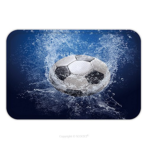 Flannel Microfiber Non-slip Rubber Backing Soft Absorbent Doormat Mat Rug Carpet Water Drops Around Soccer Ball On Blue Background 47986576 for Indoor/Outdoor/Bathroom/Kitchen/Workstations