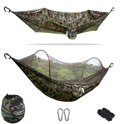 ESOW Camping Hammock with Net Portable Lightweight Multifunctional Hammock with Tree Straps, Carabiners and Storage Bag 98x47 Inches 440 lbs Maximum User Weight Easy Installation