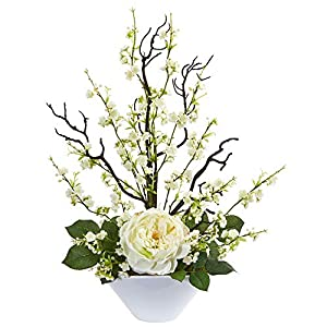 Nearly Natural 1758-WH Rose & Cherry Blossom Artificial Silk Arrangements White 82