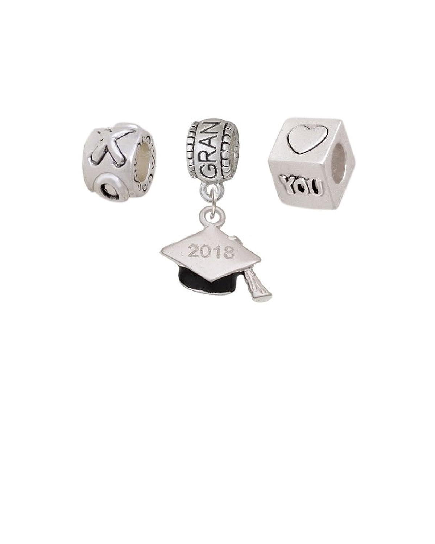 3-D Graduation Hat Grandmother Love Charm Beads (Set of 3)