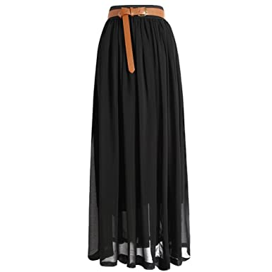 Tobey Vintage Women's Pleated Long Chiffon Waist Maxi Boho Beach ...