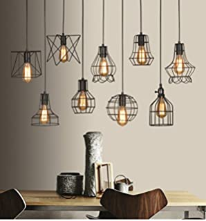 Metropolis large cage wire lamp shade amazon lighting vintage industrial black metal hanging ceiling light wire cage lamp guard pendant light shade fixture for keyboard keysfo Image collections