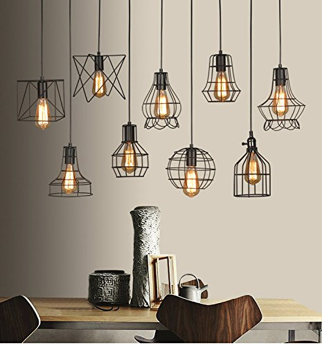 Vintage industrial black metal hanging ceiling light wire cage lamp vintage industrial black metal hanging ceiling light wire cage lamp guard pendant light shade fixture for greentooth Choice Image