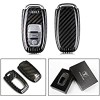 LUXURY REAL CARBON FIBER KEY PROTECTIVE CASE COVER FOR AUDI KEYLESS ENTRY SMART FOB