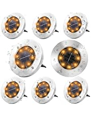 LED Solar Ground Lights, 8 Pack Waterproof Outdoor Garden Solar Disk Lights, KozyOne Outdoor Garden Decoration Lighting, for Garden, Lawn, Terrace, Walkway, Courtyard, Warm White