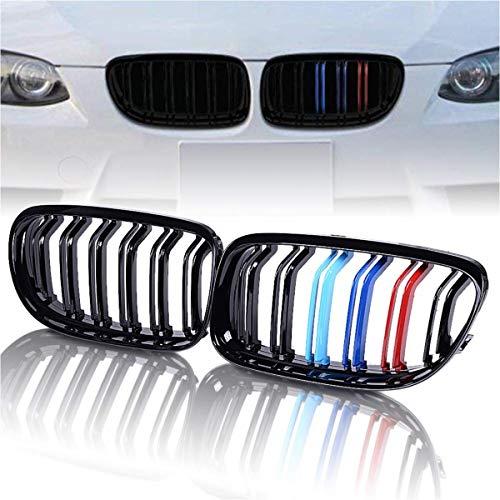 Deebior 2pcs For 2009-2011 BMW E90/E91 3-Series 325 328 330 335 Sedan/Wagon Glossy Black M-Tri Color Kidney Grille Front Bumper Hood ABS Plastic Grille