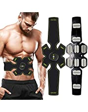 Waist Trimmer Ab Belt,Muscle Stimulator, EMS Abs Trainer Abdominal Belt USB Rechargeable Muscles Toner for Abs Arms Legs Abs Support Belt & 8 Modes 10 Levels for Men&Women