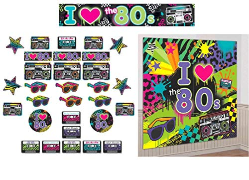 (Amscan 80s Theme Party Room Retro Decorations Bundle with Giant Wall Scene Setter and Banner)