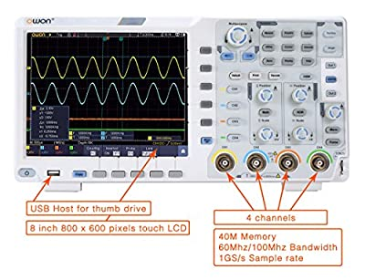OWON XDS3064E Digital Oscilloscope 60 Mhz DSO 4 Channels 1GS/S 8 BITS LCD with Multi-Touch Screen