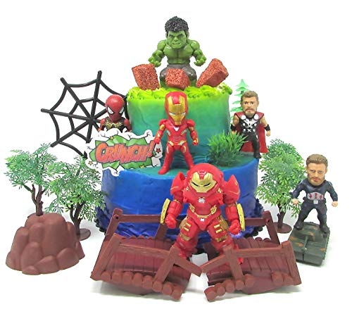 - Avengers Super Hero Themed Birthday Cake Topper Set Featuring Hulk, Thor, Iron Man and Decorative Themed Accessories