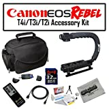 Deluxe Accessory Kit for Canon EOS Rebel T2i T3i T4i with Opteka Microfiber Deluxe Photo / Video Camera Gadget Bag, Opteka X-Grip Professional Camera / Camcorder Action Stabilizing Handle, 32GB SDHC High Speed Memory Card and More!