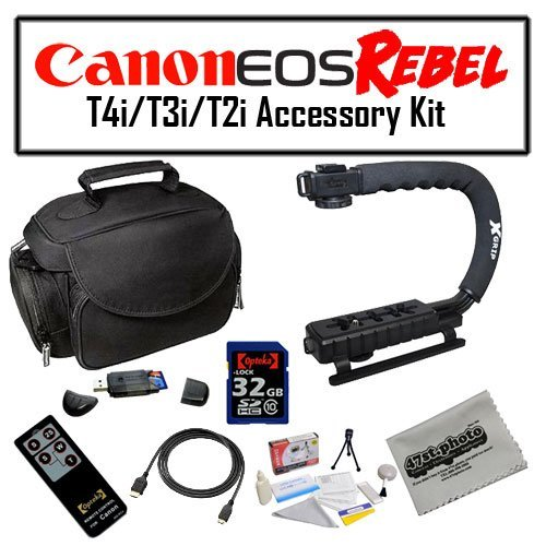 Deluxe Accessory Kit for Canon EOS Rebel T2i T3i T4i with Opteka Microfiber Deluxe Photo / Video Camera Gadget Bag, Opteka X-Grip Professional Camera / Camcorder Action Stabilizing Handle, 32GB SDHC High Speed Memory Card and More! by 47th Street Photo