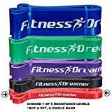 Assisted Pull-Up Band, Resistance & Stretch Bands by Fitness DreamerTM. Band Starter e-Guide INCLUDED. Choose between 5 levels 41'' in Length (#1 Red (5-35 lbs, 1/2''))