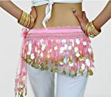 Multi-Row Paillettes Gold Coins Belly Dance Wrap & Hip Scarf, Lively Style -pink