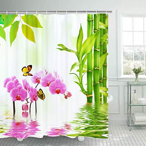 BLEUM CADE Nature Scenery Zen Shower Curtain Stream Flowers Bamboo Butterfly Bathroom Durable Mildew