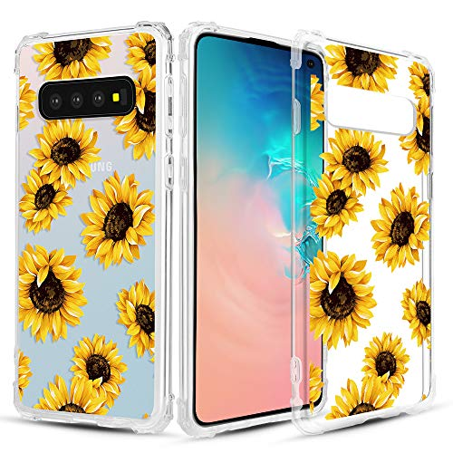 Caka Clear Case for Galaxy S10 Clear Floral Case Flower Pattern Flower Series Slim Girly Anti Scratch Excellent Grip Premium Clarity TPU Crystal Case for Samsung Galaxy S10 (Sunflower)
