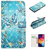 for Samsung Galaxy A70 Wallet Case and Screen Protector,QFFUN Glitter 3D Pattern Design [Blue Butterfly] Magnetic Stand Leather Phone Case with Card Holder Drop Protection Etui Bumper Flip Cover