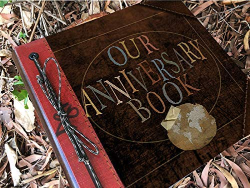 Our Anniversary 12x12 Leather Adventure Book Personalized Foil Imprinted Spine by Album Options