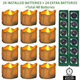 Micandle 24PCS Battery Tea Lights with Timer + EXTRA 24PCS CR2032 Batteries, 6 Hours on and 18 Hours Off in 24 Hours Cycle Automatically,Amber Yellow Flickering Timing LED Candle Lights,1.4 x 1.4 Inch