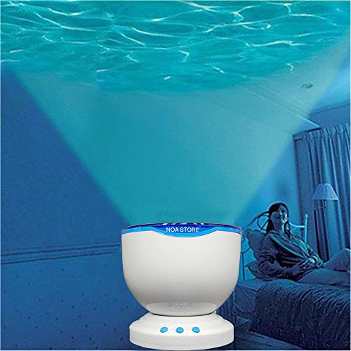 Calming Autism Sensory LED Light Projector Toy Relax Blue Night Music Projection (White)