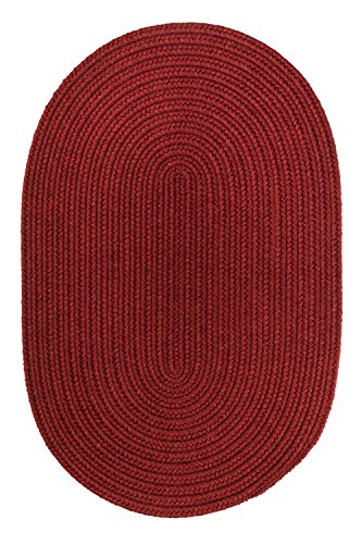 Solid Round Wool Rug, 4-Feet, Barn Red