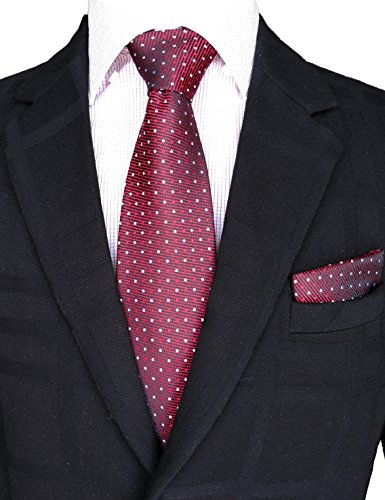 ie Set for Men Handmade Tie and Pocket Square Set with Gift Box by WITZROYS (Burgundy Necktie)